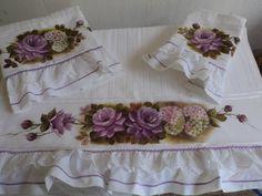 Conjunto de toalha com rosas