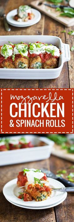 BAKED MOZZARELLA CHICKEN ROLLS. The fresh basil, the tomato sauce, the creamy spinach bursting out of the seams, the Italian herb smells just amazing!