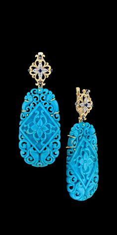 Master Exclusive Jewellery - Kaleidoscope - Blue Earrings Fantasy Jewelry, Jewelry Art, Vintage Jewelry, Jewelry Accessories, Fine Jewelry, Jewelry Design, Fashion Jewelry, Blue Earrings, Turquoise Earrings
