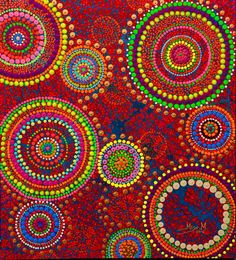 We love the work of Milly Martionou. Aboriginal Flag, Dot Art Painting, Pointillism, Texture, Modern Art, Artwork, Arts And Crafts, Dots, Graphic Design