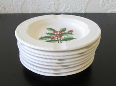 Holly and Berry Ceramic Ashtray- Buy One or All! AtomicPutz.com