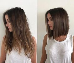 Long hair to shoulder length bob transformation @domdomhair
