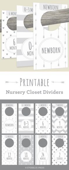 These cute Printable Nursery Closet Dividers in gender neutral gray patterns help organize your baby's clothes! Newborn decor from Everblue Press on etsy https://presentbaby.com