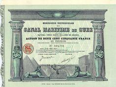 Canal Maritime de Suez, Aktie von 1924 + MUSEALE RARITÄT + HOCHDEKORATIV