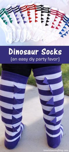 These DIY Dinosaur Socks are a super fun and very easy to make party favor for a Dinosaur Birthday Party and we have step by step directions on how to create them. Follow us for more fun Dinosaur Party Ideas.