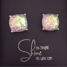 Large Opal Color Sparkle Stud Earrings Beautiful Large Sparkle Gumdrop Stud Earrings in a light Opal like color with glitter set in the resin stones. Gives an iridescent look. Approximate size of a dime or penny. New. No Trades. Price firm unless bundled. All sales final. Ask questions prior to purchasing. I want happy customers! Thanks for visiting & Happy Poshing! Boutique Jewelry Earrings