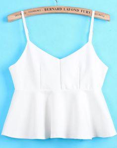 White Spaghetti Strap Ruffle Vest pictures