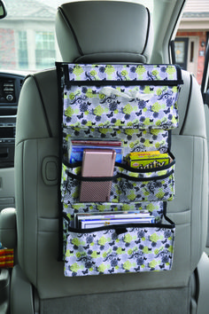 contain the kid clutter while providing entertainment during long trips this 8 pocket organizer has