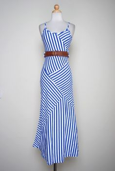 Blue Assymetrical Striped Pattern Belted Maxi Dress- I want this dress!