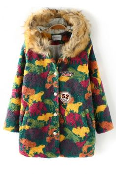 Animal Camouflage Print Fur Hat Trench Coat