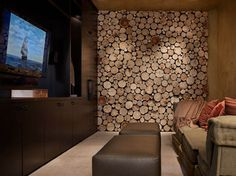 WOOD DESIGN BLOG || Wood Design || Living Room Wood Walls|| As partition, envelope or detail, here are some contemporary uses of wood walls in the living room. #interiors #wood #design ||Colorado-based Worth Interiors