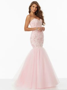 Sweetheart Beads Lace Up Tulle Mermaid Blue Pink Sleeveless Floor Length Evening / Prom Dresses 99026