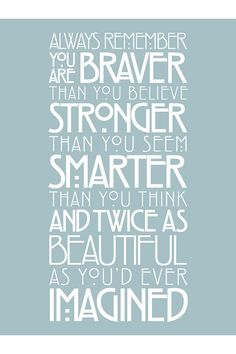 Always Remember You Are... A.A. Milne quote on Etsy, $25.00 CAD