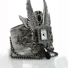 Gothic Steampunk Cuff Watch  Angel Wings and by LeBoudoirNoir, $250.00