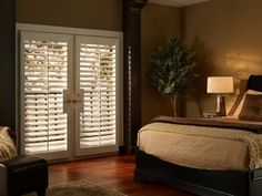 Hunter Douglas Palm Beach™ polysatin shutters with Palmetto Blinds For French Doors, French Door Windows, French Doors Patio, Blinds For Windows, Windows And Doors, Window Blinds, Window Shutters, Custom Shutters, Vinyl Shutters