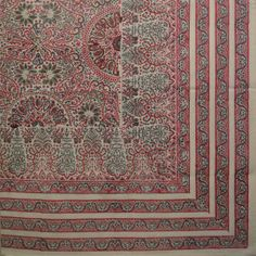 Handblock Printed Oblong Tablecloth in Red Kashmir