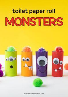 Toilet Paper Roll Monsters - cute Halloween craft for kids! for kids, Toilet Paper Roll Monsters Recycled Crafts Kids, Halloween Crafts For Kids, Easy Crafts For Kids, Toddler Crafts, Diy For Kids, Fun Crafts, Vintage Halloween, Holiday Crafts, Toilet Roll Craft