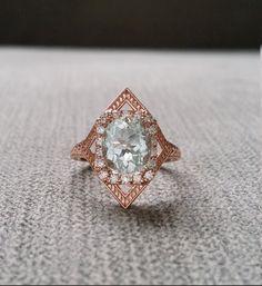 "Aquamarine Diamond Engagement Ring Geometric Victorian Halo Egyptian Bohemian Aqua Blue Antique Cushion Art Deco 14K Rose Gold ""The Judith"""