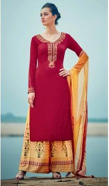 Crimson Color Cotton,Satin Straight Cut Style Evening Wear Palazzo Dresses | FH552982652 Follow Us @heenastyle  #salwarkameez #salwarsuit #suit #churidarsuit #dress #salwarkameezonline #cottonsalwarkameez #plazzosuit #plazzosalwarkameez #plazzodress #heenastyle #plazzopent