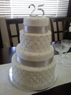 This was my first four tier cake for my parents 25th anniversary.