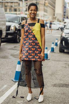 September 9, 2016 Tags Tamu McPherson, Orange, Black, White, Blue, Yellow, Women, Prints, Dresses, Earrings, New York, Mules, 1 Person, Fishnet, Short Hair, SS17 Women's