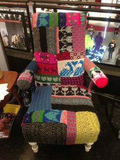 Armchair in hand knitted patchwork at the Gallery Trade Fair during Copenhagen Fashion Week www. Trade Fair, Copenhagen Fashion Week, Hand Knitting, Plant Based, Armchair, Wool, Live, Gallery, Stuff To Buy