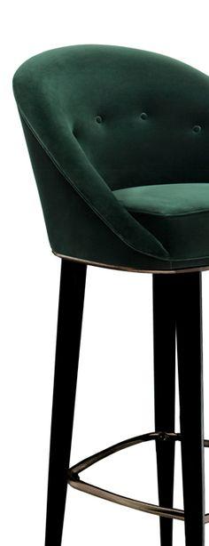 MALAY Bar Chair Mid Century Design by BRABBU is a velvet bar stool with a mystical soul.