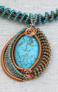 Wire Weave and Turquoise Necklace - Vanessa Maile Jewellery