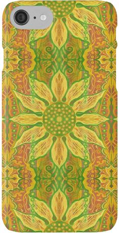 """""""Sun Flower, bohemian floral pattern, yellow, green & orange"""" iPhone Cases & Skins by clipsocallipso 