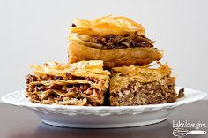 Layers of store-bought phyllo dough are topped with a filling made from Texas pecans, sugar, and spices. After baking, the baklava is doused in grapefruit-infused honey syrup. Just Desserts, Delicious Desserts, Dessert Recipes, Yummy Food, Sweet Desserts, Apple Desserts, Texas Pecans, Pecan Cobbler, Baklava Recipe