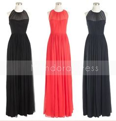 Sheer Black  Long Bridesmaid Dress Long Chiffon by Mondora on Etsy