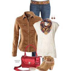 """""""Outfit of the Day: Suede Shirt"""" by maggiebags on Polyvore"""