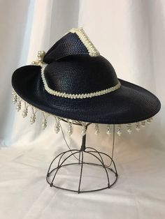 Vtg Womens Hat Church Dress Kentucky Derby Party Navy Blue Straw Pearl Small Med | eBay