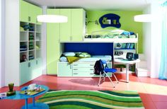 [Bedroom] : Inspiring And Pleasant Design Idea Bedroom For Kids With Exciting Furniture And Nice Decoration Also Beautiful All Paint Loft Bed Plus Ladder Integrated With Bookshelves Study Desk Plus Chair Locker Sweet Rug