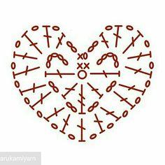 Crochet Heart Diagram Ideas Crochet Heart Diagram Ideas Learn the basics of how to Crochet Diagram, Crochet Chart, Crochet Motif, Crochet Doilies, Crochet Flowers, Crochet Squares, Crochet Granny, Heart Diagram, Crochet Christmas Hats