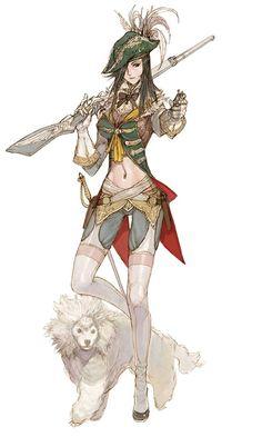 kinda steamy: character concept art of Female Musketeer for Granado Espada