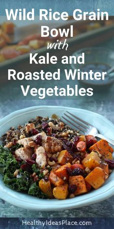 Wild rice, kale, and roasted winter vegetables star in this nourishing wild rice grain bowl. Top with a homemade balsamic dressing for a super yummy dinner! Healthy Side Dishes, Healthy Dinner Recipes, Vegetarian Recipes, Grain Bowl, Rice Grain, Homemade Balsamic Dressing, Roasted Winter Vegetables, Calories In Vegetables, Cooking Wild Rice