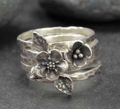 Flower Rings Sterling Silver Rings Forget Me Not Rings #SilverJewelry