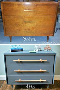 Flip my dresser. Refinished dresser with new wooden handles like copper pipe handles. mid century furniture chest of drawers before and after makeover. #furniture #dresser #makeover #painting #upcycling #midcentury