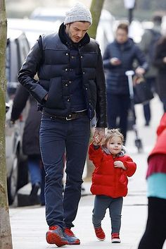 Harper Beckham and her dad David ran a few errands in London on March 27, 2013. Harper is now 20 months old.