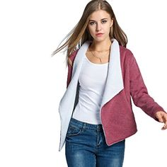 Women's Casual Jackets - Romanstii Fashion Women Winter Warm Wide Lapel Open Front Fleece Slim Jacket Coat * Click on the image for additional details.