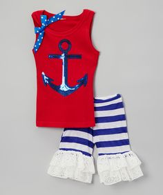 Take a look at this Blue Anchor Tank & Ruffle Shorts - Infant, Toddler & Girls today!