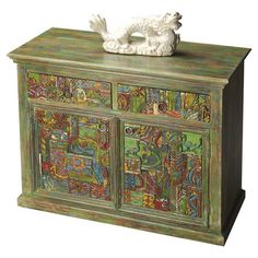 Hand-painted mango and recycled wood sideboard with brass-finished hardware.  Product: SideboardConstruction Materia...