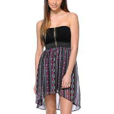 Lunachix Tribal Print Strapless High Low Dress