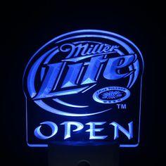 ws0180 Miller Lite Beer OPEN Day/ Night Sensor Led Night Light Sign