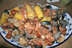 mussels + corn + sausage + potatoes + shrimp