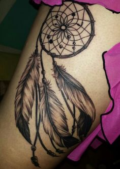My dream catcher tattoo on my thigh in memory of my Grandma and making dream catchers with her when I was a kid. Done by Marilyn at Chronic Ink in Toronto. AMAZING AND LOVE!