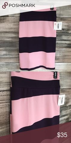 NWT LuLaRoe Striped Cassie Pencil Skirt NWT LuLaRoe Striped Cassie Pencil Skirt. Colors are a light pink and dark purple. Slight texture to the fabric. Soft and stretchy material. LuLaRoe Skirts Pencil
