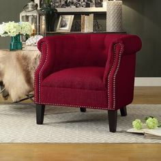 House of Hampton Steeves Barrel Chair Alcott Hill Mazon Barrel Chair Upholstery: Red House Of Hampton, Upholstered Seating, Chair, Linen Accent Chairs, Accent Chairs, Red Accent Chair, Chair Upholstery, Traditional Accent Chair, Barrel Chair