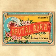 Personalized Vintage Beer Label Sign, Custom Classic Liquor Label ...